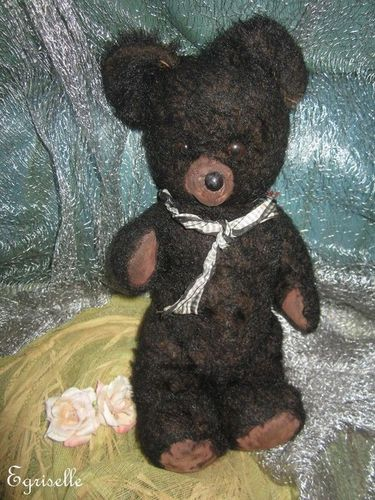 "♫ PELUCHE Vieil OURS ""Charbon"", Teddy Bear Antique, COLLECTION d'OURS Anciens ♫"