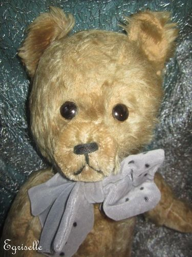 "♫ PELUCHE Vieil OURS ""OupsGris"" Teddy Bear Antique, COLLECTION d'OURS Anciens ♫"