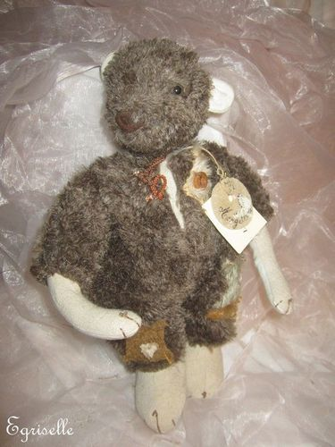 "♫ COLLECTION OURS Artiste CREATION ""Mangeterre"" Pièce Uniqu Teddy Bear PELUCHE ♫"